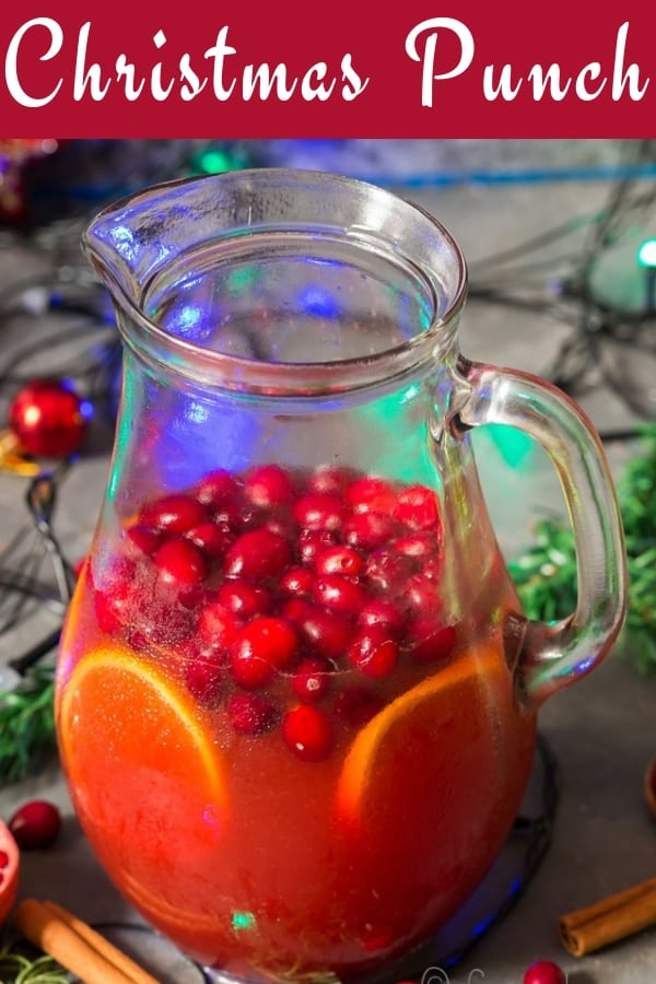 easy Christmas punch recipe in pitcher with text overlay
