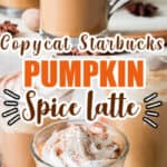 homemade pumpkin spice latte served in 3 glasses with text