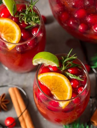 Christmas punch recipe served in two glasses