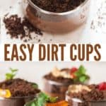OREO crumb topped dirt cups with text overlay