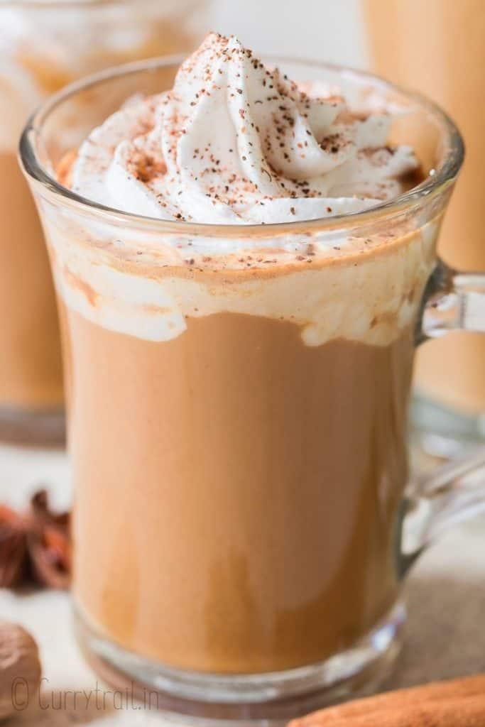 close up of homemade pumpkin latte