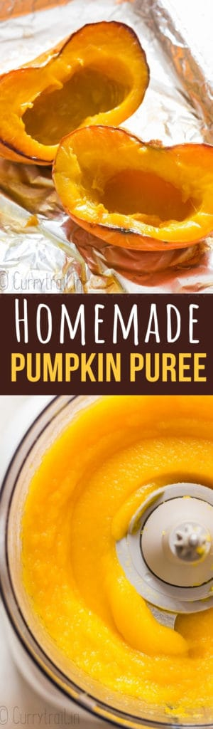 homemade pumpkin puree with text overlay