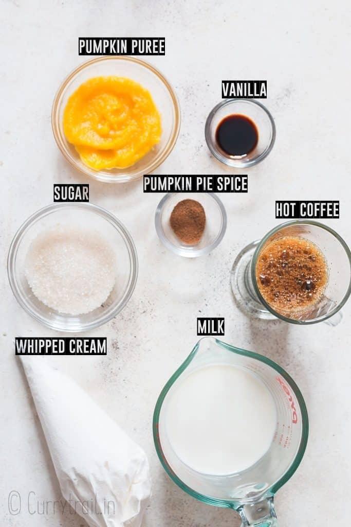 ingredients used to make pumpkin spice latte