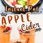 homemade apple cider recipe made in instant pot served in three glasses with text