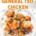 instant pot general tso chicken served over a bed of rice in white bowl with text