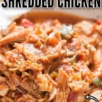 instant pot shredded chicken in ceramic bowl with text