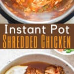 instant pot shredded chicken with text overlay
