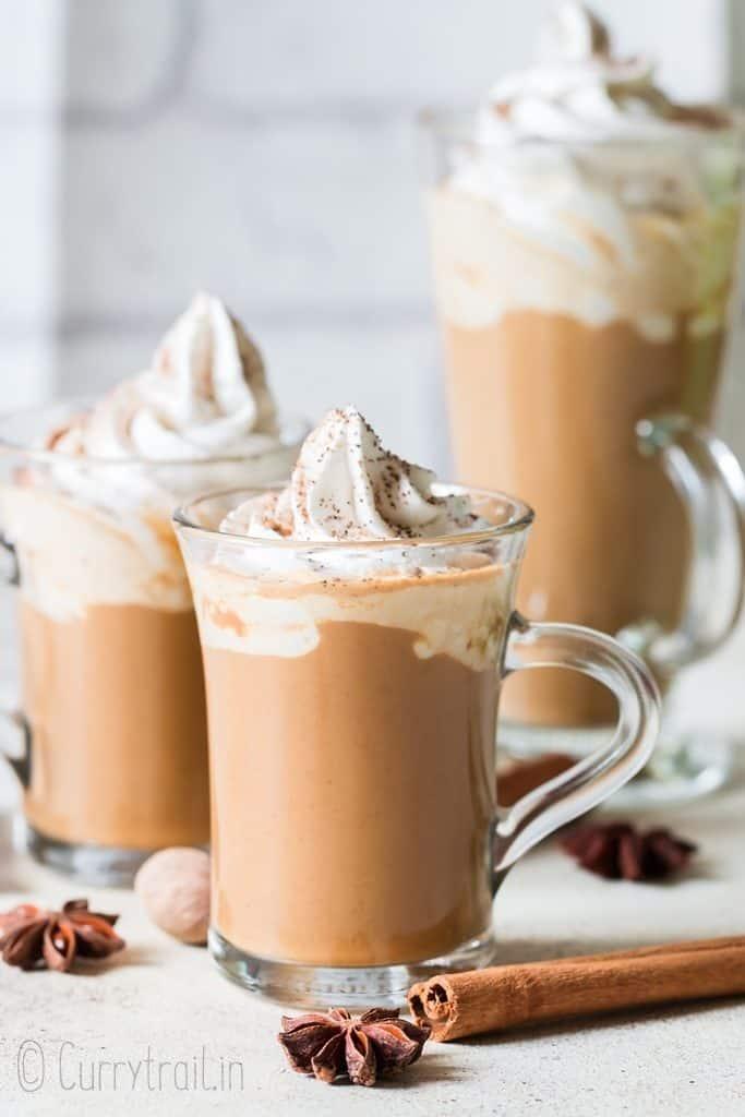 homemade pumpkin spice latte serve in 3 cups
