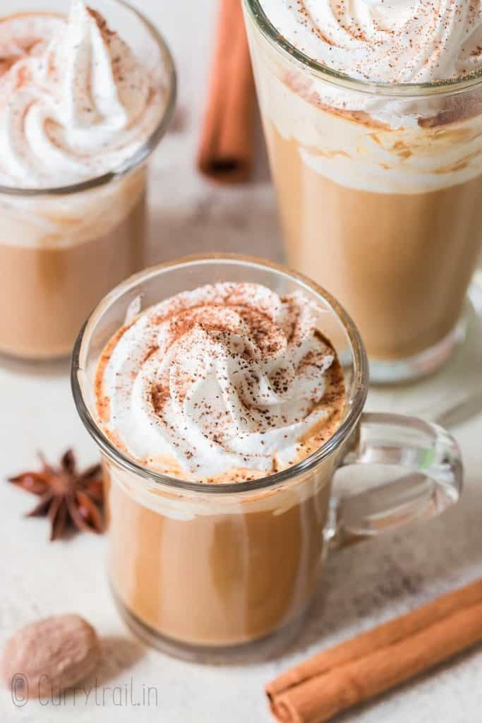3 cups of Starbucks copycat pumpkin spice latte