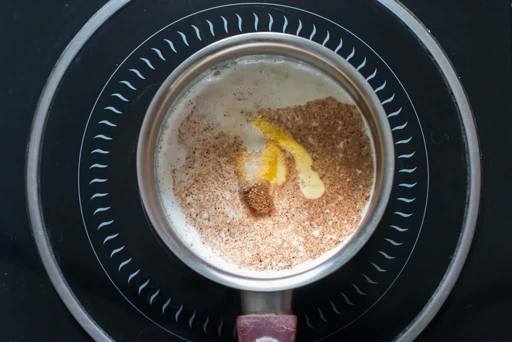heating up pumpkin milk in sauce pan