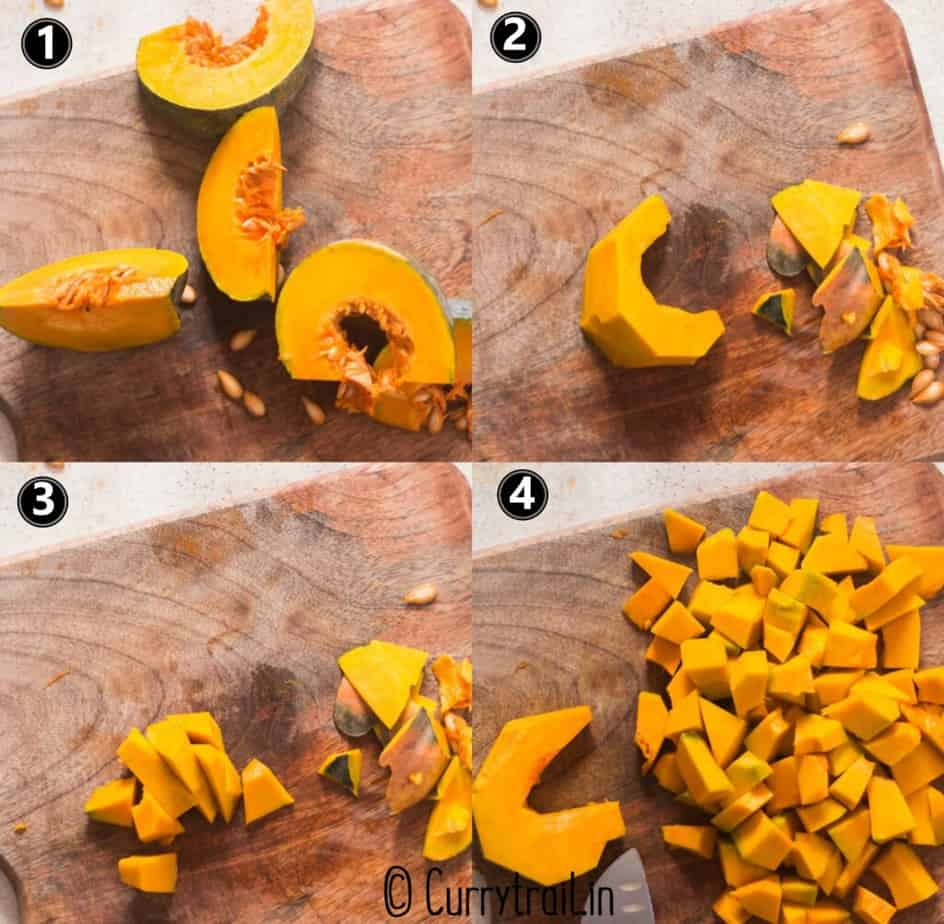 step by step picture collage of how to chop pumpkin