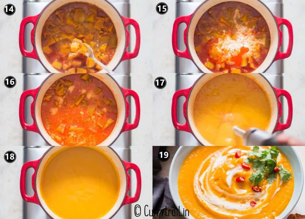 step by step picture collage of making vegan pumpkin curry soup