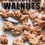 candied walnuts in baking tray with text