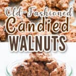 old fashioned candied walnuts in baking tray with text