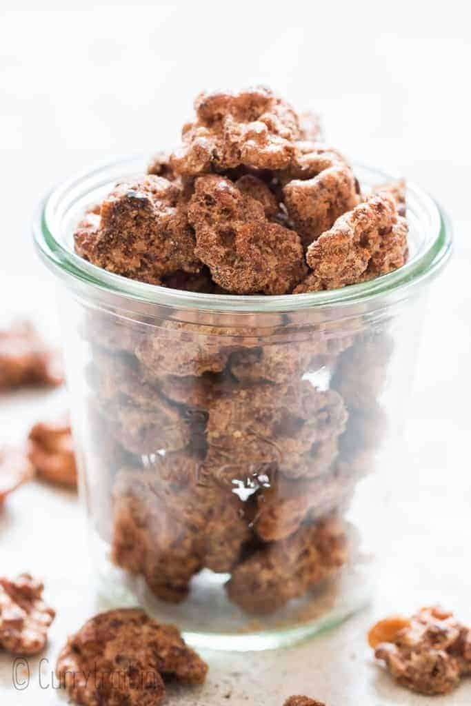 candied walnuts in jar