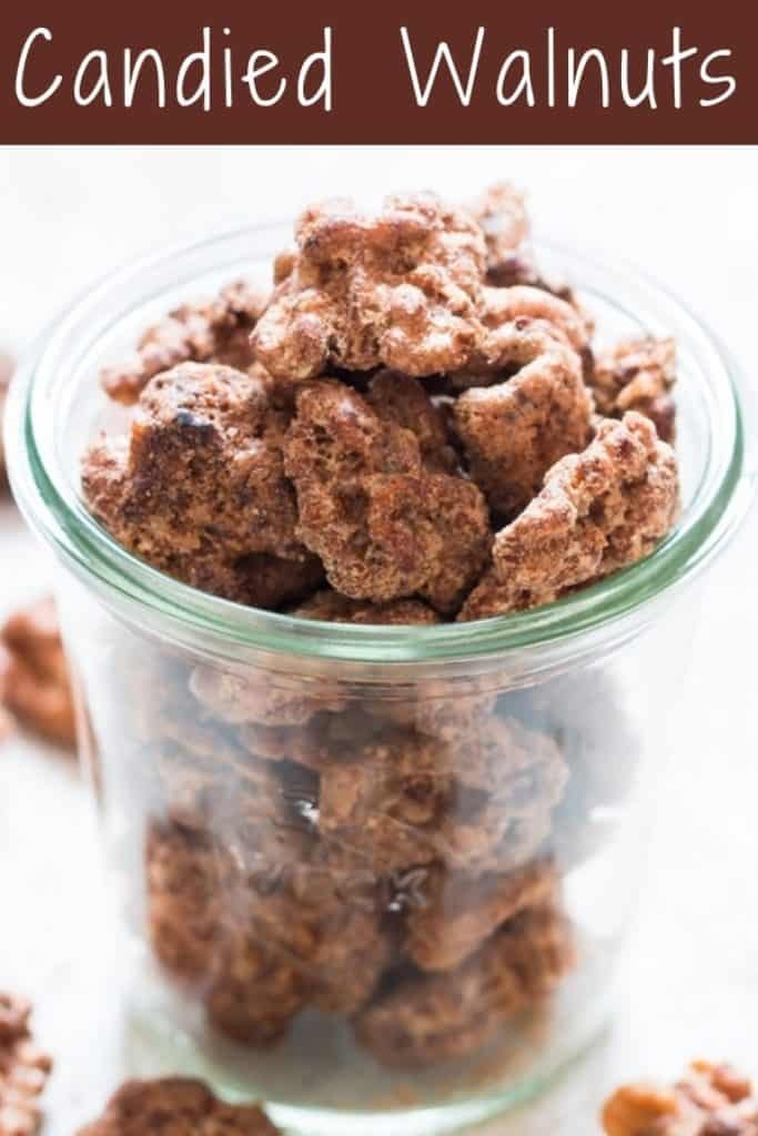candied walnuts in glass jar with text overlay