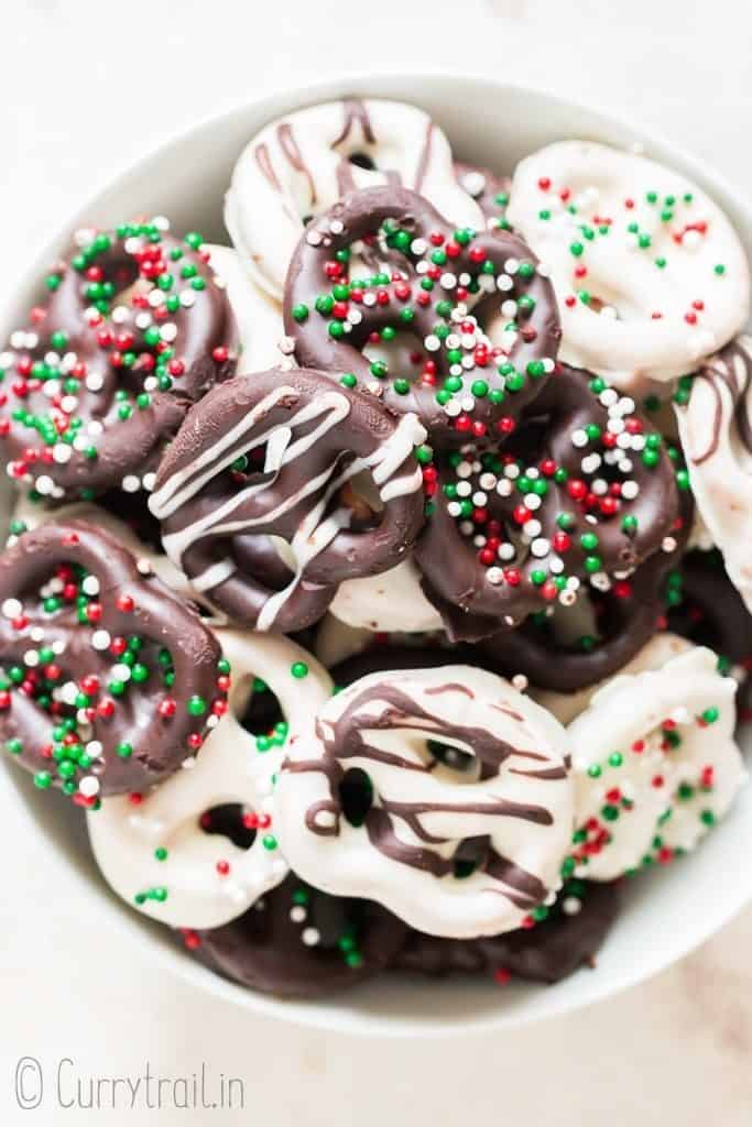 Christmas chocolate dipped pretzels twists in bowl