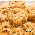 no bake cornflakes cookies on ceramic plate with text