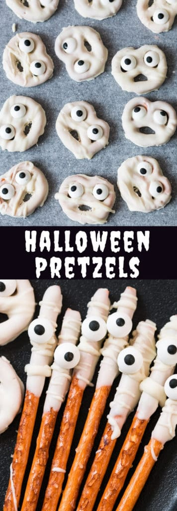 These ghost and mummy Halloween pretzels are perfect for class Halloween celebrations! It's spooky, super easy to make yet tasty Halloween treat! #halloweentreats #schoolparty #easy #easyrecipes #rods #pretzels #chocolatedipped #sticks #mummy #ghosts #ghostspretzels #cutehalloweentreats #treats #kdisrecipes #easyhalloweenrecipes #recipes