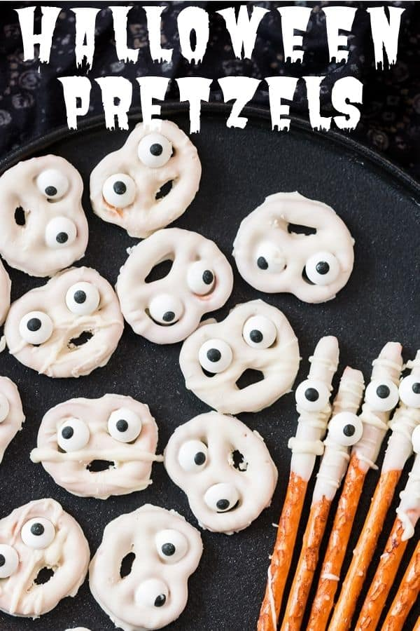 halloween pretzels with text overlay