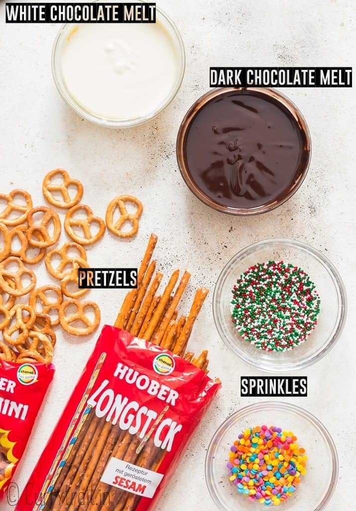 ingredients for chocolate covered pretzels