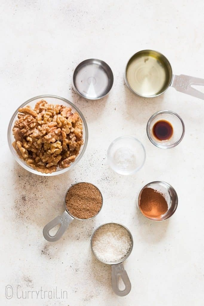 ingredients for candied walnuts