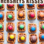 waffle pretzels with kisses and m&m on tray with text