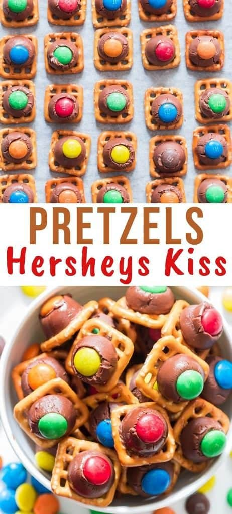 pretzel hershey kisses in white bowl with text overlay