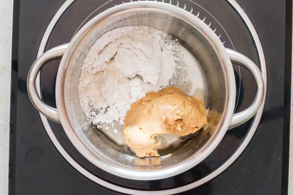 heating ingredients in sauce pan