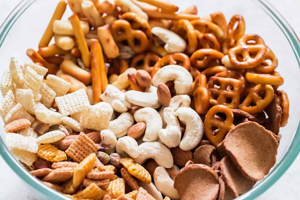 dry snack mix in bowl for chex mix recipe