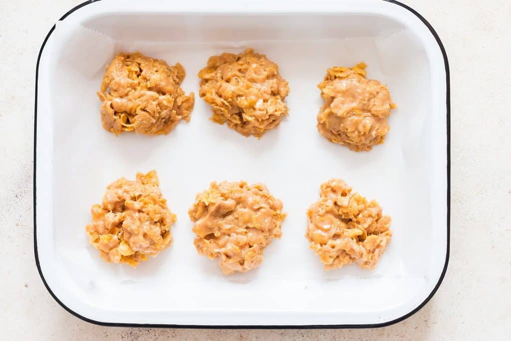 healthy cornflakes cookies on white tray