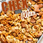 spicy and sweet homemade chex mix in baking tray with text