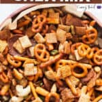 sweet spicy chex mix in wooden bowl