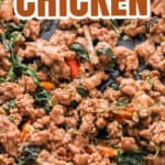 thai basil chicken in skillet with text