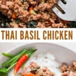 spicy Thai basil chicken served with rice in bowl with text overlay