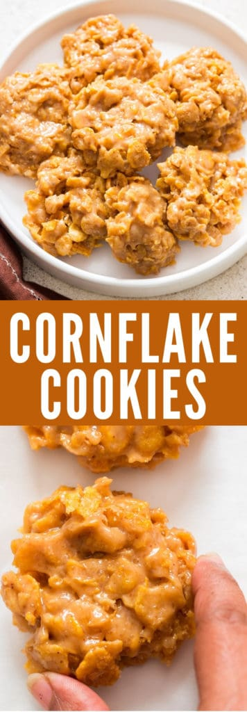 cornflake cookies on white plate with text overlay