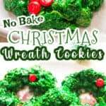 no bake Christmas wreath cookies made with cornflakes cereal with text