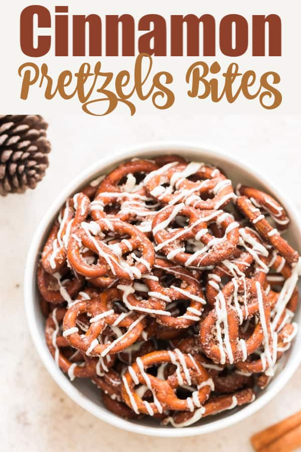 cinnamon sugar coated pretzel twists in white bowl with text overlay