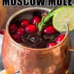 cranberry Moscow mule in mule cups with text