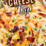 cream cheese dip with bacon in white bowl with text