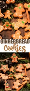 gingerbread man cookies arranged on wooden board with text overlay