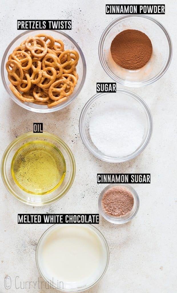 ingredients for cinnamon pretzels twists