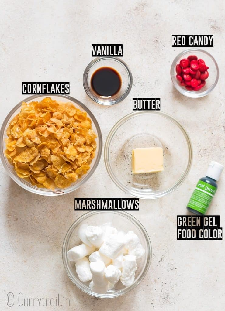 ingredients for Christmas wreath cookies