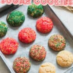 sugar cookies with sparkling sugar on baking tray with text