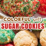 soft colorful sugar cookies on white plate with text