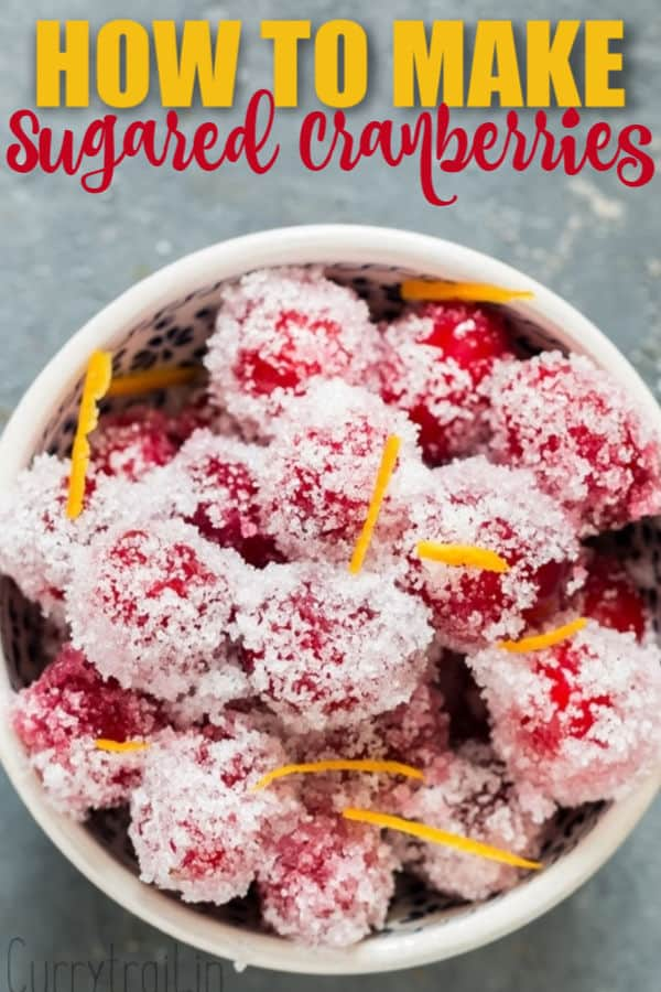 suagred cranberries in white bowl with text overlay