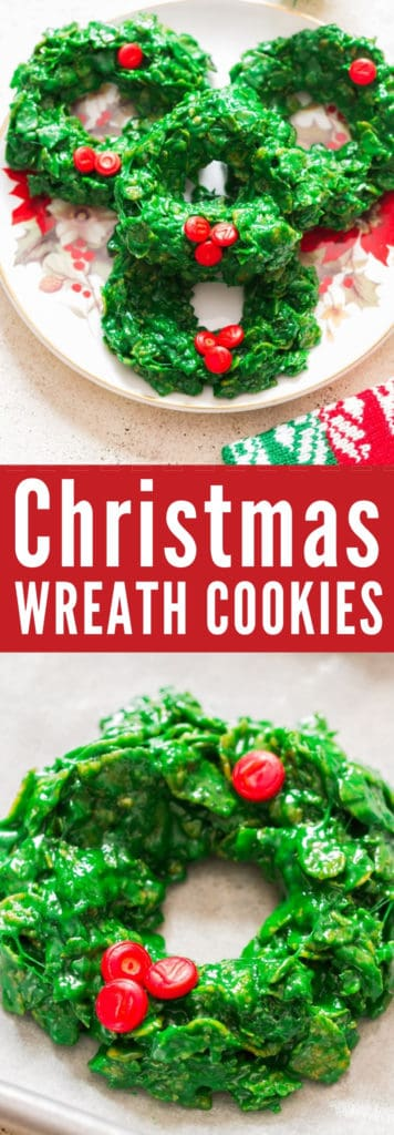 Cornflakes Christmas wreath cookies placed on decorative place with text overlay