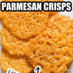 low carb snack Parmesan crisps on white plate with text