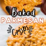 healthy snack baked crisps made using Parmesan cheese with text