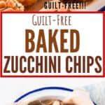 baked zucchini chips served with garlic aioli with text overlay